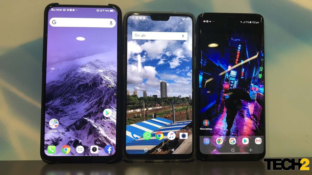 The tale of three displays in to today's world. Bezel-less, notched and curved. From left to right, Vivo NEX, OnePlus 6, Galaxy S9 Plus.