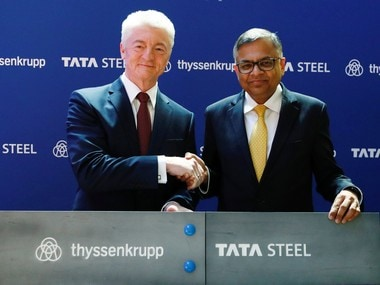 Germany's ThyssenKrupp CEO Heinrich Hiesinger and Chairman of Tata Steel Natarajan Chandrasekaran. Reuters