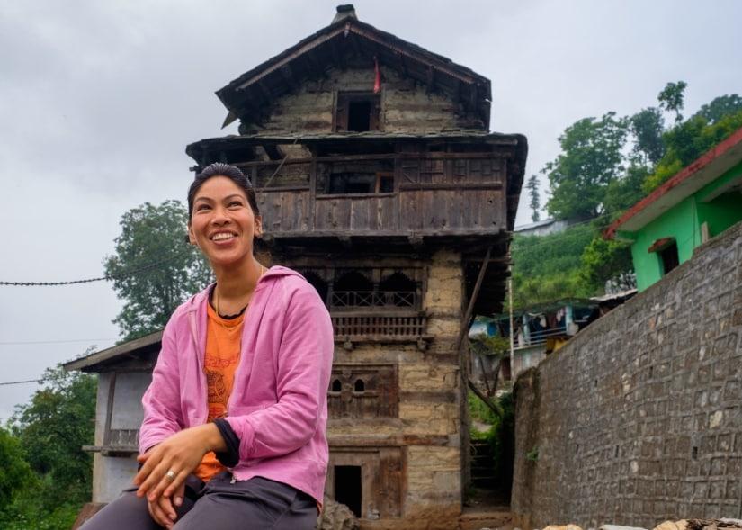 The bubbly Priyanka lives in Raithal village and runs the Goat Village at Dayara Bugyal