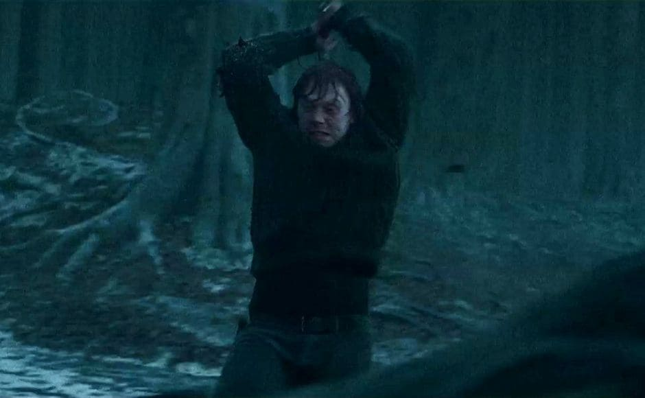 The highlight of Harry Potter and the Deathly Hallows Part 1 is when Ron returns and destroys the Horcrux. Screenshot from YouTube.