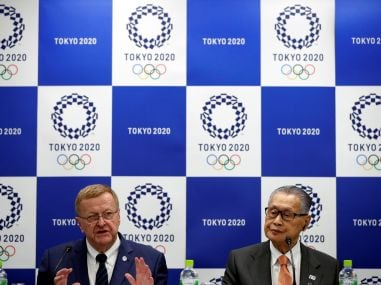 File photo of IOC Vice President John Coates (L) and President of Tokyo 2020 organising committee Yoshiro Mori. Reuters