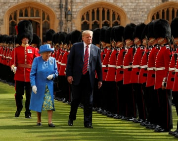 Donald Trump breaches protocol during meeting with Queen Elizabeth II; US president did not bow to greet, walked ahead of her