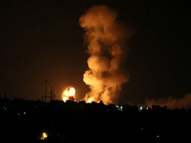 Explosion is seen following an Israeli air strike in the southern Gaza Strip. Reuters