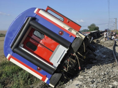 Overturned coach after train derailed in Turkey. AP