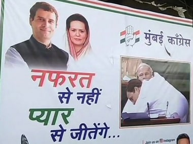 Poster of Rahul Gandhi hugging Prime Minister Narendra Modi put up by Congress in Mumbai. Twitter/@sanjaynirupam