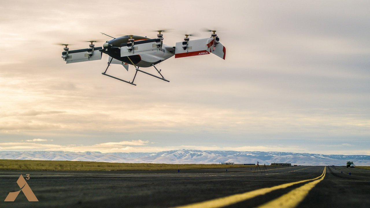 Vahana is an all electric, self-piloted, VTOL aircraft from A³ by Airbus which has successfully completed its first full-scale flight test, reaching a height of 5 meters (16 feet) before descending safely. Vahana. Image: Airbus
