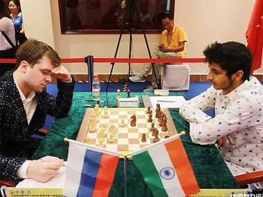 Vidit Gujrathi during his game against Vladimir Fedoseev.