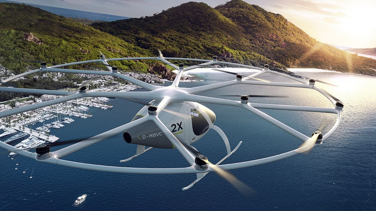 That is one huge fan on the top of that air taxi! The company aspires to integrate air taxis into existing transportation systems and provides mobility for up to 10,000 passengers per day with a single point to point connection. Volocopter.