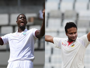 File images of Windies' skipper Jason Holder (L) and Bangladesh captain Shakib Al Hasan. AFP