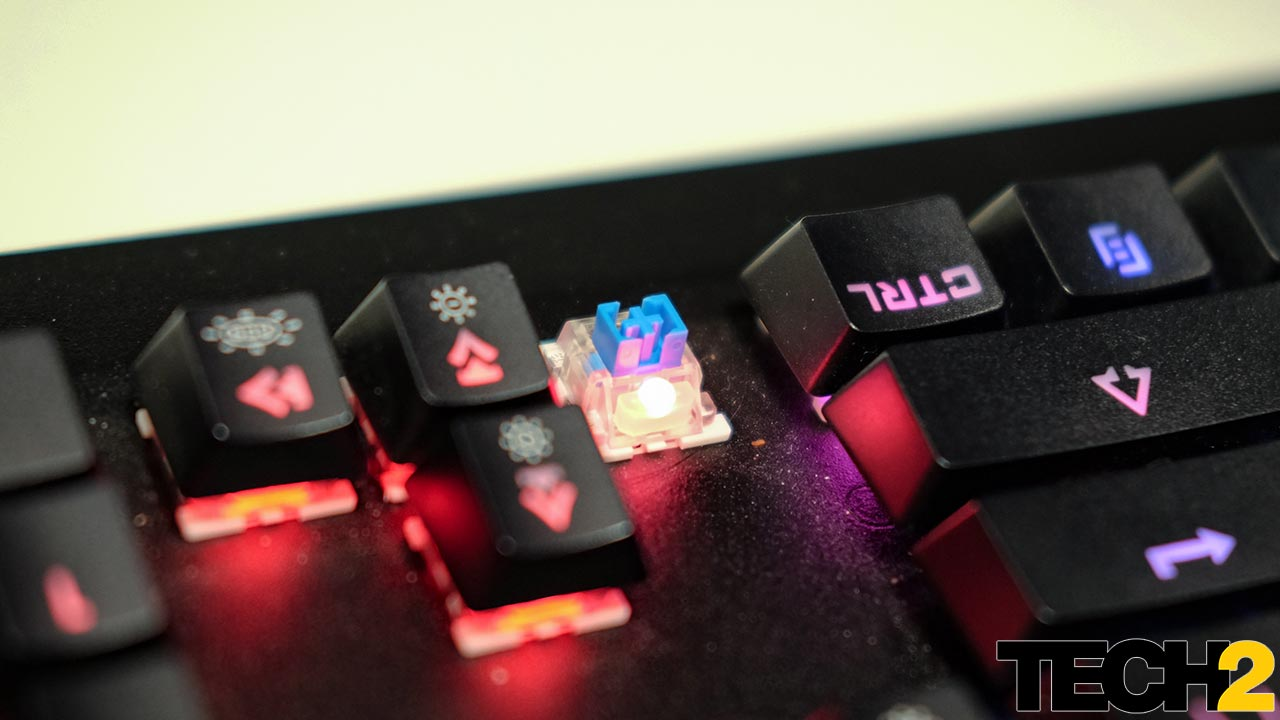 The keyboard uses mechanical key switches, but these aren't Cherry MX switches. Image: tech2/Anirudh Regidi