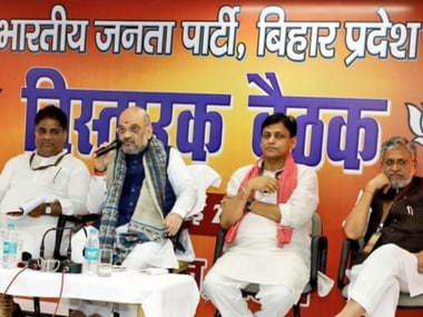 Amit Shah with party workers in Patna on Thursday. Twitter@AmitShah