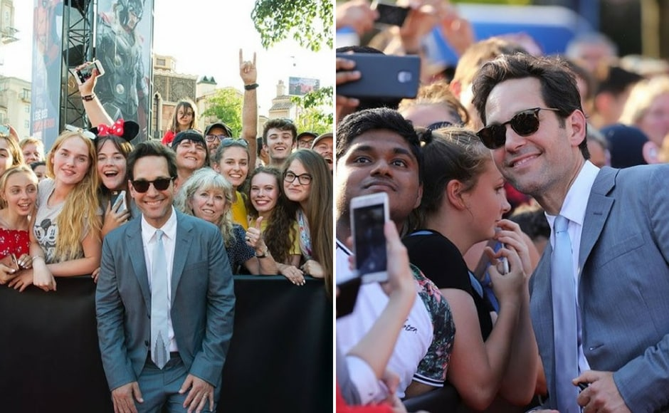 Paul Rudd poses with the fans at the premiere of the film in Disneyland, Paris. Instagram/ @marvelstudios