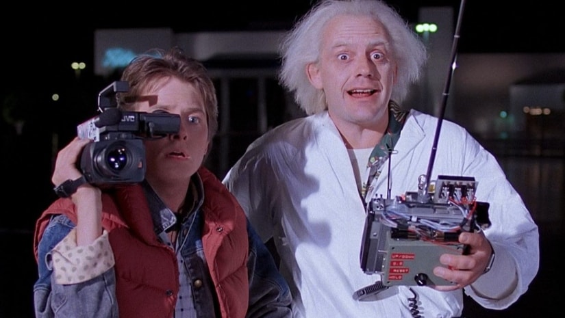 Marty McFly and 'Doc' in Robert Back to the Future. Twitter