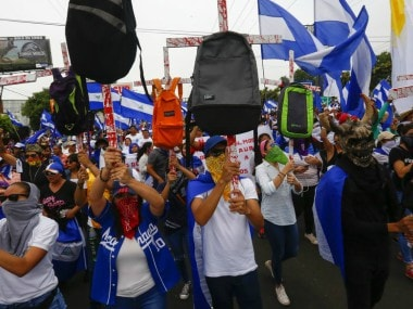 Demonstrators a march demanding the ouster of president Daniel Ortega. AP