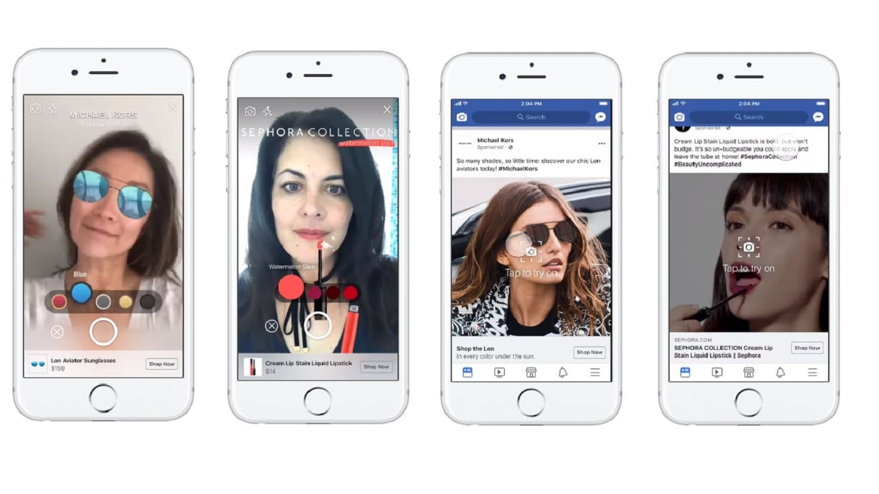 Facebook shows off the new AR ad with a pair of Michael Kors sunglasses.