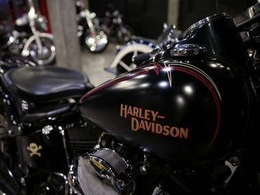 Harley Davidson motorcycles are displayed for sale at a showroom. Reuters