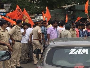 Protesters stopped traffic in Mumbai's Kandivali during the Maharashtra Bandh on Wednesday.