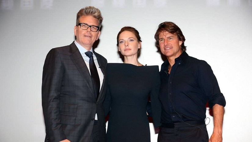 Christopher McQuarrie (left), Rebecca Ferguson (centre) and Tom Cruise (right). Image from Facebook