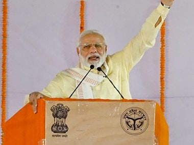 Prime Minister Narendra Modi addressing an event in Uttar Pradesh . PTI