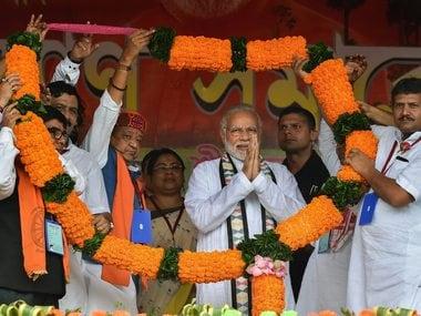 Narendra Modi at Midnapore on Monday. PTI