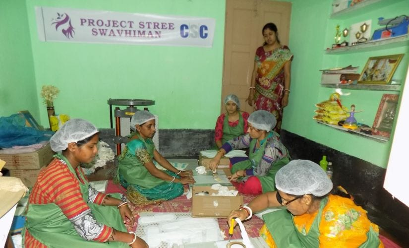 Women making sanitary napkins at the Common Service Centre in Murshidabad in West Bengal