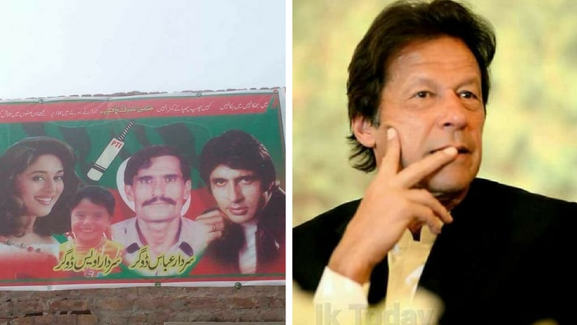 The poster featuring Amitabh Bachchan and Madhuri Dixit was put up by a candidate belonging to the party of Pakistan's newly elected prime minister, Imran Khan. Twitter