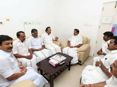 Chief Minister EK Palaniswami and his ministers meet DMK leader MK Stalin on Monday. Twitter@OfficeofOPS