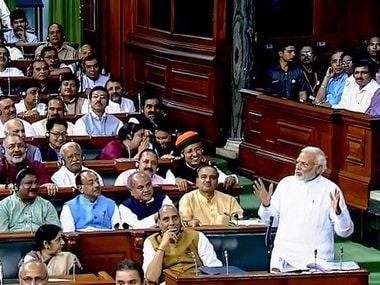 Narendra Modi speaking in the Lok Sabha on Friday. PTi