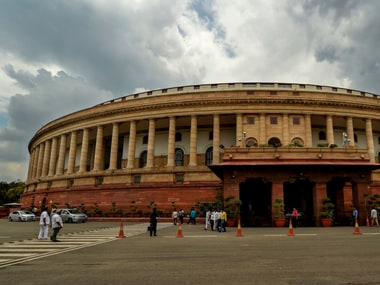 Monsoon clouds over the Parliament House, in New Delhi on Monday. PTI