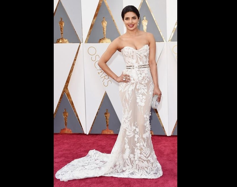 Priyanka Chopra at the OScars 2016. Image from Facebook/Fashion Designing India