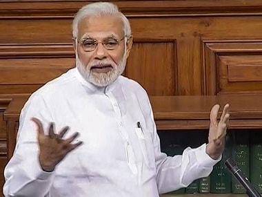 Prime Minister Narendra Modi while delivering his speech in Lok Sabha on Friday. PTI