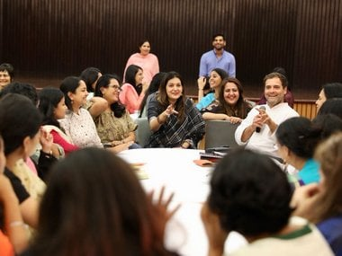 Rahul Gandhi interacting with women journalists in Delhi. Twitter/@INCIndia