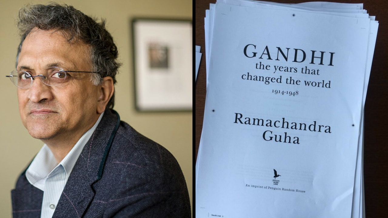Ramachandra Guha (left) and the manuscript of his book on Gandhi. News18, Indo-Asian News Service