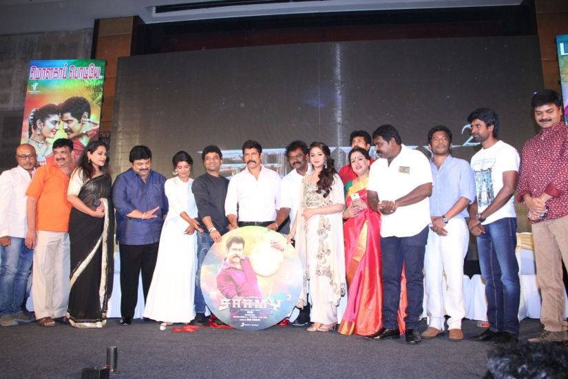 The cast and crew of Saamy Square at the audio launch event in Chennai