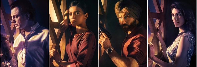 Character posters for Sacred Games. Netflix