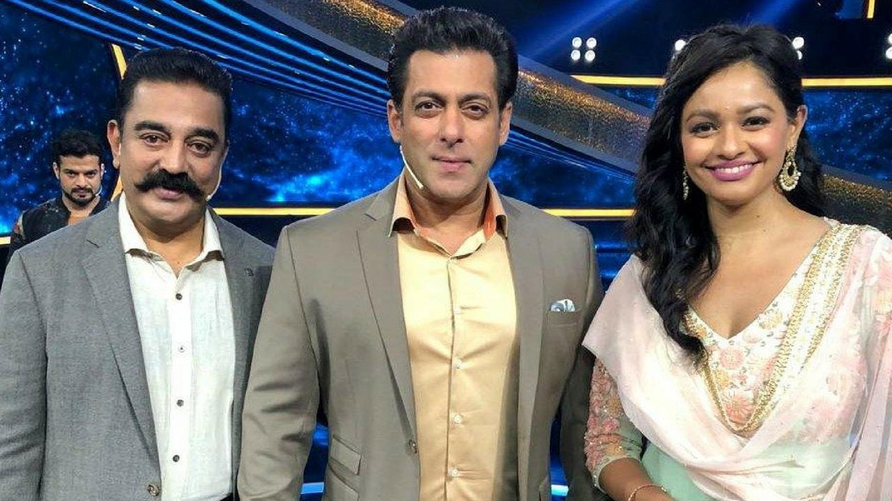 Kamal Haasan, Salman Khan and Pooja Kumar on the sets of Dus Ka Dum. Image from Twitter