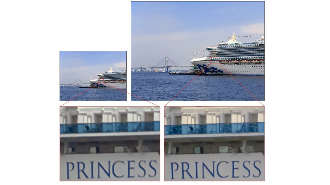 Conventional image with 12 effective megapixels vs image taken by IMX 586 that has 48 effective megapixels.