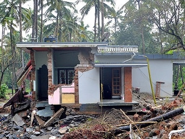 A house destroyed by a landslide in the village of Kannapanakundu in Kerala. AFP
