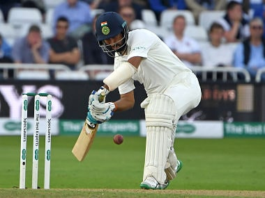 Cheteshwar Pujara played a resilient knock of 72 runs that came off 208 balls on Day 3. AFP