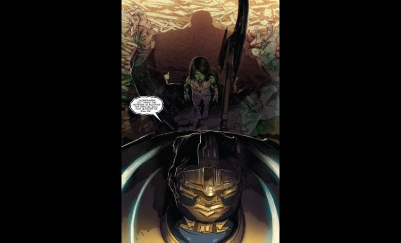 Thanos, dead or alive, will always loom large in Gamora's life. Image courtesy: Marvel