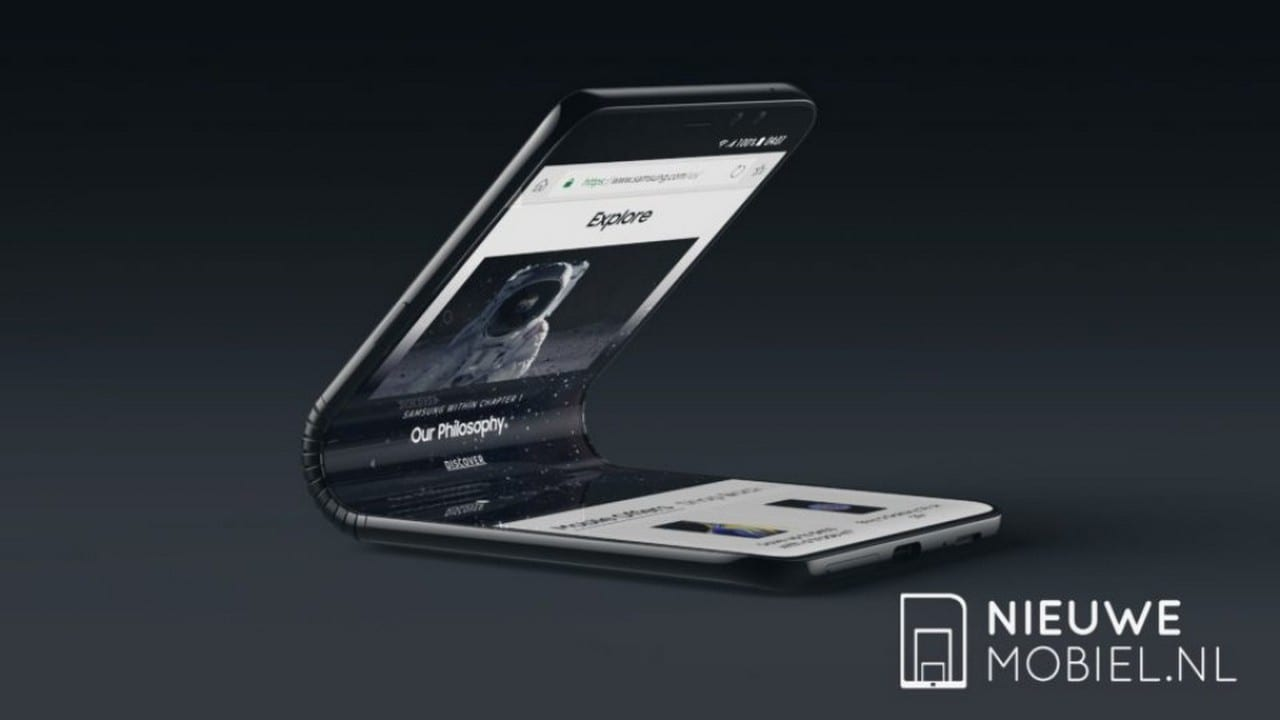 Concept render of the Samsung foldable partially folded. Image: NieuweMobiel