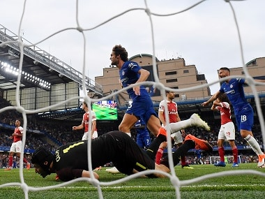 Chelsea's Marcos Alonso celebrates scoring their third goal. Reuters