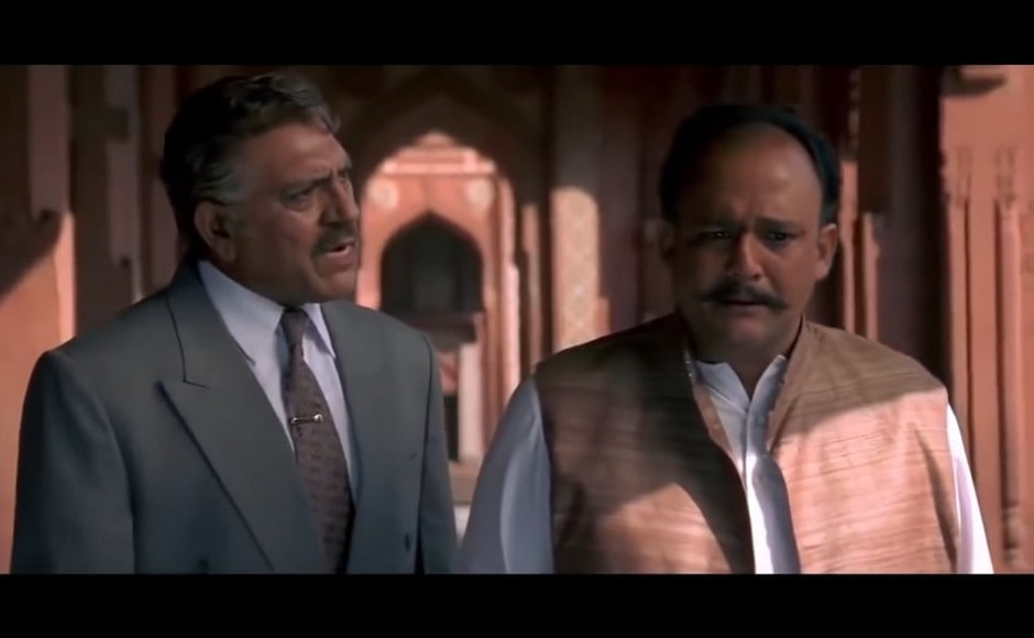 Amrish Puri's Kishorilal and Suraj Dev (Alok Nath) realise their mistake in trying to arrange the marriage between Rajiv and Ganga. YouTube screengrab