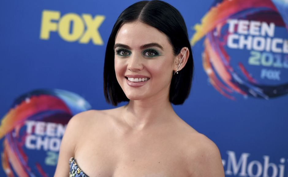 Lucy Hale arrives at the Teen Choice Awards at The Forum in Inglewood, California. Photo by Jordan Strauss/Invision/AP
