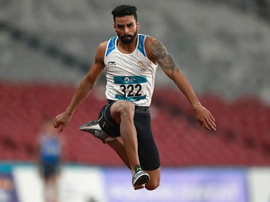 India's Arpinder Singh competes in the men's triple jump final during the athletics competition at the 18th Asian Games in Jakarta, Indonesia, Wednesday, Aug. 29, 2018. (AP Photo/Dita Alangakara)