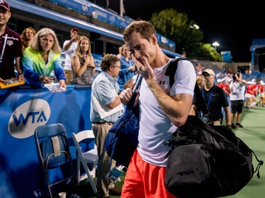 Andy Murray was overcome with emotion after winning his third three-setter in four days. AP