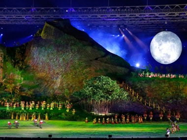 The opening ceremony was a grand affair, at the centre of which was a gigantic stage made to look like a mountain. AP