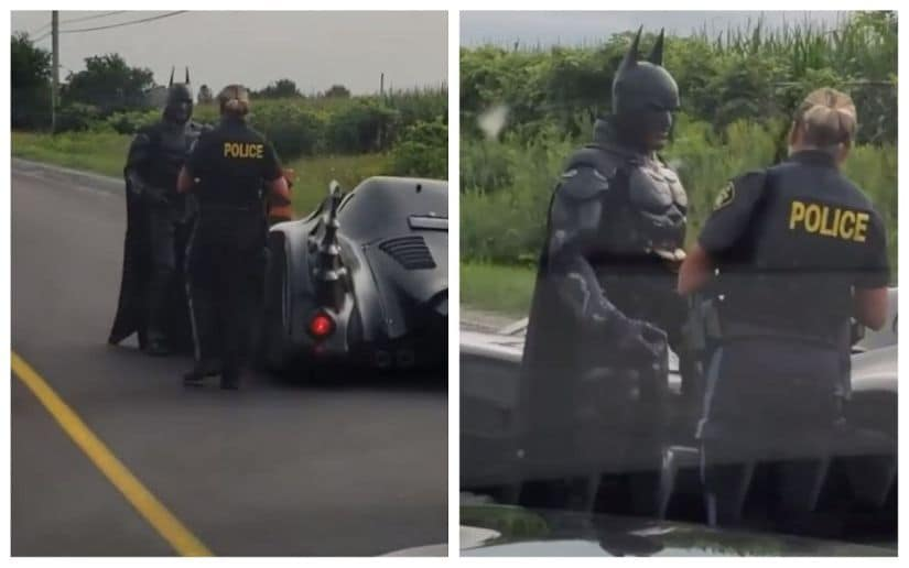 Batman gets pulled over by Canadian police. Image via Twitter