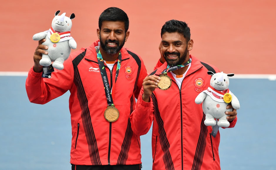 Rohan Bopanna and Sharan Divij won the gold for Men's Doubles in Tennis. AFP