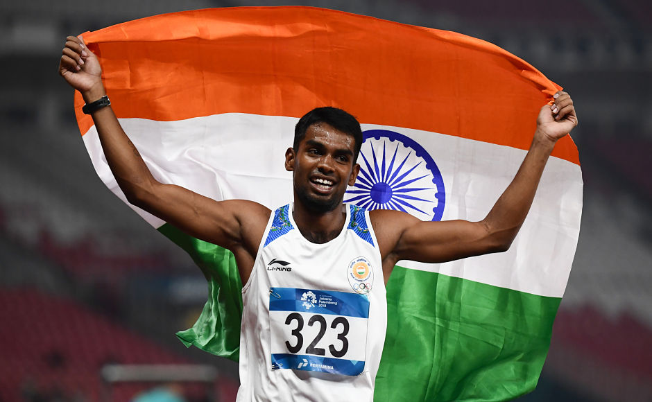 India's Dharun Ayyasamy clocked 48.96 seconds to shatter his own national record and clinched a silver in men's 400m hurdles at Asiad. AFP